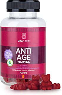 VITAYUMMY Anti Age Vitamin Gummies. Mango Flavour | Rich in Hyaluronic Acid & Vitamin C A B | Moisturizing Skin Care & Reduces Wrinkles | 60 pcs. 1 Month Supply