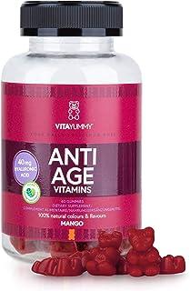 VITAYUMMY Anti Age Vitamin Gummies. Mango Flavour | Rich in Hyaluronic Acid & Vitamin C A B | Moisturizing Skin Care & Reduces Wrinkles | 60 pcs. 1 Month Supply