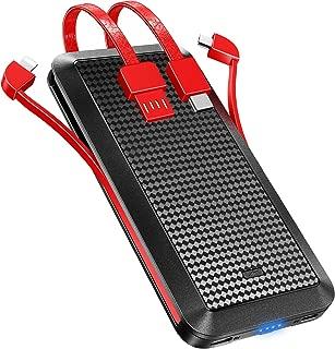 【10000mAh&軽量&ケーブル内蔵】モバイルバッテリー急速充電 3in1出力(Lightning/microUSB/Type C)3台同時充電スマホ充電器薄型 持ち運び便利携帯充電器 大容量 残量表示 防災グッズ PSE認証済 iPhone/iPad/Android対応