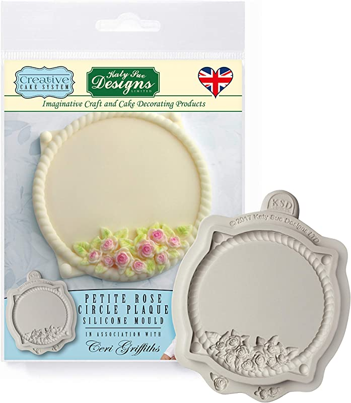 Petite Rose Circle Plaque Royal Icing Silicone Mold Ceri Griffiths Creative Cake System For Cake Decorating Crafts Cupcakes Sugarcraft Candies Cards And Clay Food Safe Approved Made In The UK