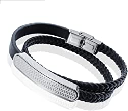 AMITER Leather Bracelets for Men Bracelets Women Bangle Stainless Steel Clasp Wristband - Multi-layer Adjustable Hand Chain