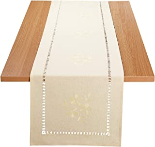 Homing Handmade Retro Hemstitched Rectangle Table Runners, Rustic Natural Color Floral Embroidery Dining Room - Machine Washable 14 x 48 Inch