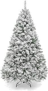 BonusAll 7ft Christmas Tree Premium Artificial Flocked Snow Xmas Pine Holiday Decoration Green White Main