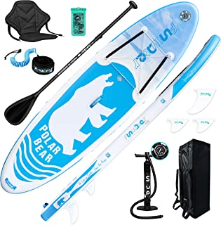 FunWater SUP Inflatable Stand Up Paddle Board Ultra-Light Inflatable Paddleboard with ISUP Accessories,Fins,Adjustable Pad...