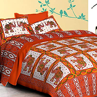 Aapno Rajasthan Orange & White Double Bedsheet with Pillow Cover
