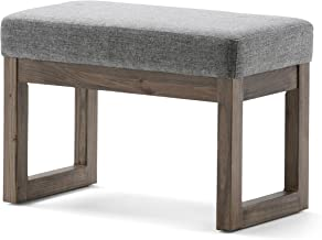 Simpli Home 3AXCOT-252-SM-GL Milltown 26 inch Wide Contemporary Rectangle Footstool Ottoman Bench in Grey Linen Look Fabric