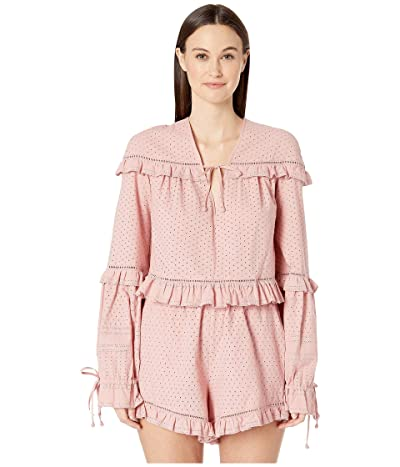 Jonathan Simkhai Embroidered Ruffle Long Sleeve Top (Rose) Women