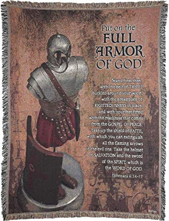 Dicksons Put on Full Armor of God 52 x 68 inch Woven Cotton Throw Blanket