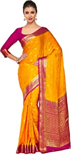 210c08ffcf Mimosa Art Crape silk saree Kanjivarm Pattu style With Contrast Blouse  Color: Gold (4272