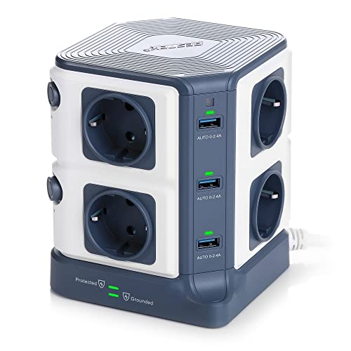BESTEK Tour Multiprise USB Bloc Parafoudre/Parasurtenseur 8 Prises avec 6 Ports USB de Recharge