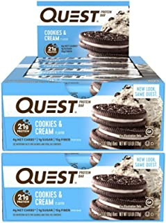 Quest Nutrition Protein Bar Cookies & Cream. Low Carb Meal Replacement Bar with 20 gram + Protein. High Fiber, Gluten-Free (24 Count)