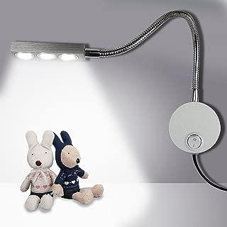 YuHan Plug Wired Flexible 3X 1W 85-265V Aluminum Gooseneck Led Wall Mount Light Sconce Lamp Lighting Switch Bedroom Reading & Multi-Purpose Lighting (Cool White Lighting)