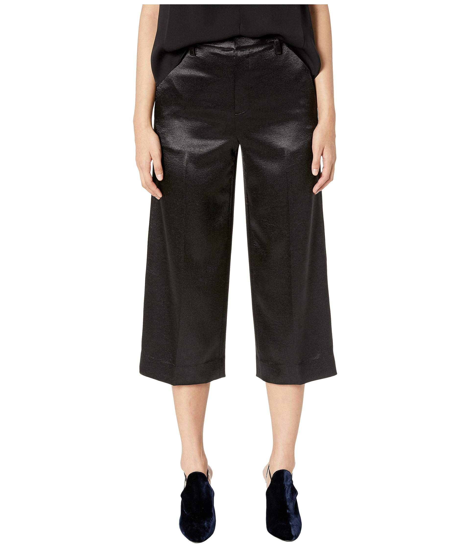 Wide Crop Black Pants Vince Metallic w1E1a