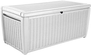 Keter Sumatra 135 gallon Outdoor Storage Rattan Deck Box, White