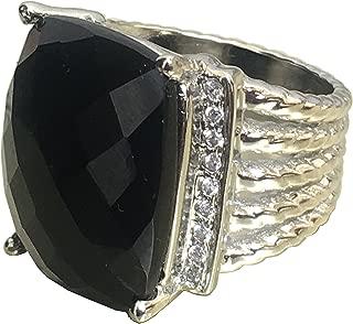 Designer Brand Inspired 20x16mm Black Onyx Ring with VS1/F Simulated Diamonds