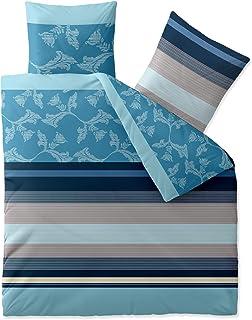 Aqua-Textil Trend Isabis Linge de lit Coton Rayures Fleurs Bleu Turquoise Beige 200 x 200 cm