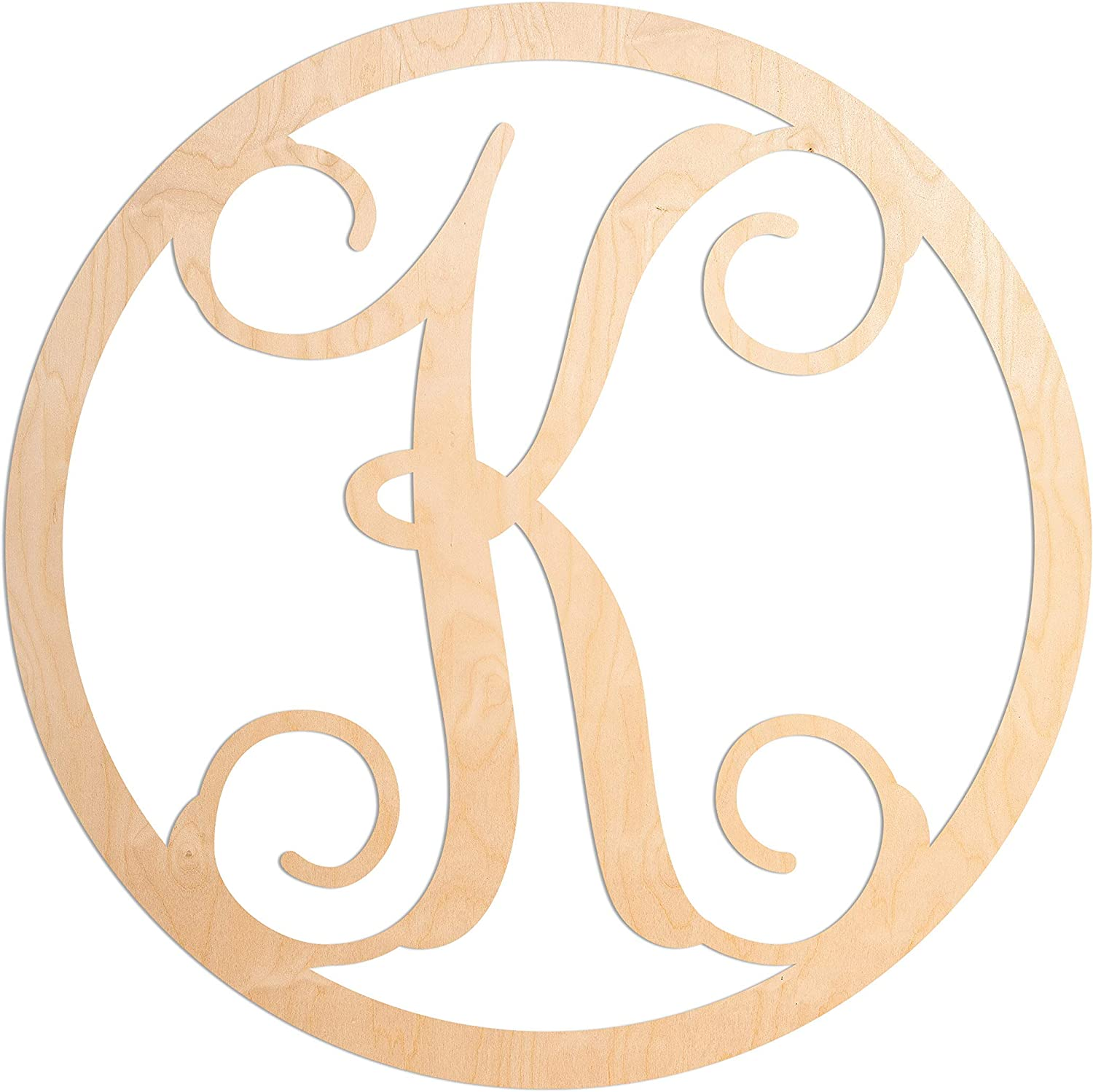 UNFINISHEDWOODCO Single Letter Circle Monogram Room Décor - 19 Inches Tall - Unfinished Circle Vine Cursive Wood Initials for Bedroom, Wall Decor Above Baby Crib, Nursery or Teen Room - Letter K