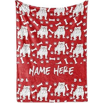 Custom Text,Embroidery,70 7//8x51 3//16in Fleecy Cuddle Blanket English Bulldog