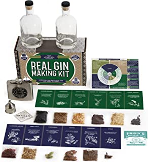 Real Gin Making Kit (Deluxe Edition) w/ Stainless Steel Personalized Flask, For Making Delicious Martinis, Gin and Tonics, Spirits & Cocktails At Home   Botanicals, Recipe Guides, Bottles & Labels & M