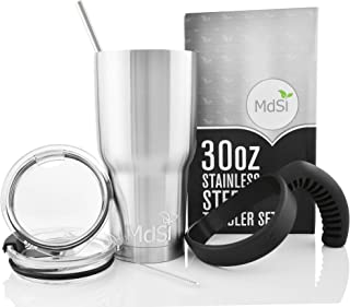 MdSiY Insulated Coffee Mug Set - 30 Oz Stainless Steel Tumbler with Straw, Spill Proof Lids, Cleaner Brush and Amazing Handle - Fits Yeti Coffee Travel Mug, Rtic, Ozark Trail, and More