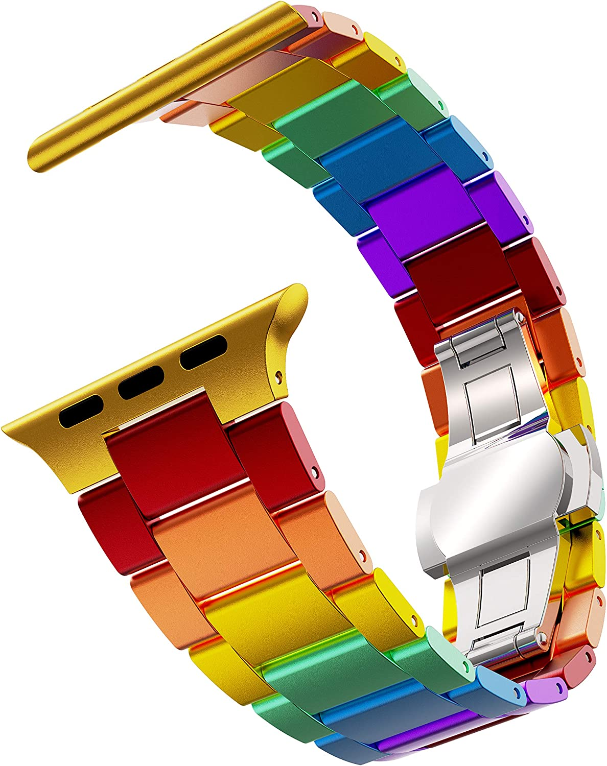 GELISHI Colorful Band Compatible with Apple Watch Bands 44mm 42mm SE/Series 6 5 4 3 2 ,Ultra Thin Aluminum Metal Watch Link Band Replacement Wristband for Women Men - Rainbow