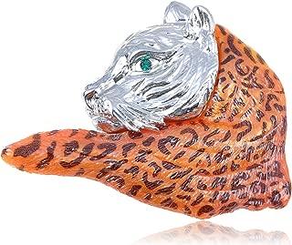Alilang Crystal Elements Orange Wild Bobcat School Mascot Fashion Pin Brooch