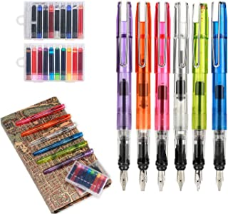 GC Quill Calligraphy Set, Includes 6 Calligraphy Fountain Pens with Different Nibs and 20 Ink Cartridges- MU-07