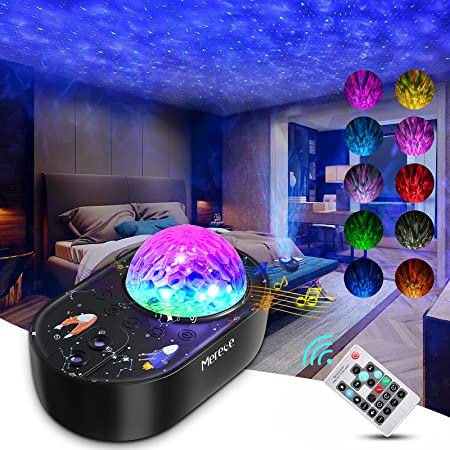 Mereceeu Projecteur Ciel Etoile, 33 Modes Lampe Projecteur LED Étoile, Éclairage Planetarium Projecteur Luminosité Réglable avec Haut-Parleur Bluetooth, Télécommande, Minuterie pour Bébé Enfant Adulte