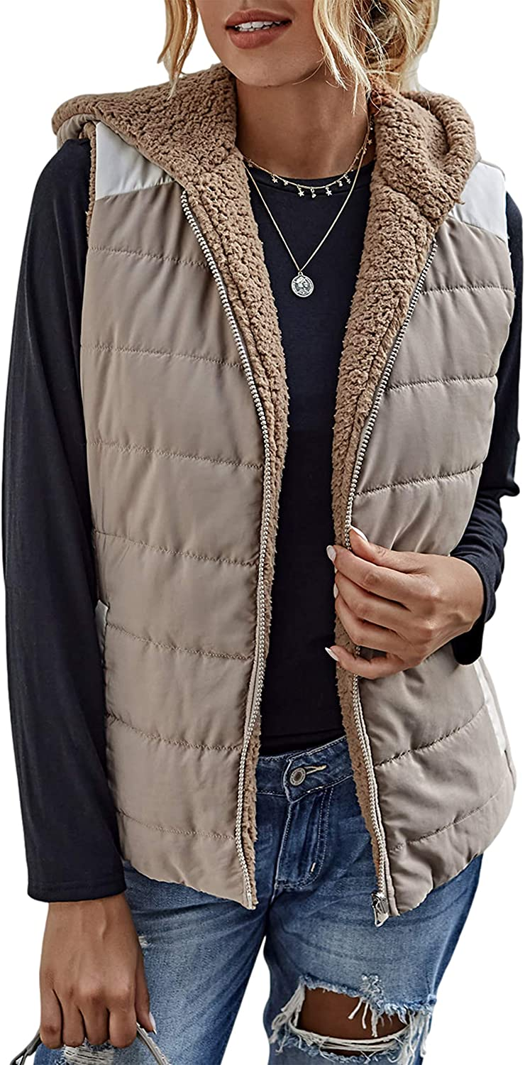 Uaneo Womens Fleece Lined Sales results No. 1 Reversible Full Hooded Sleeveless Zip Rare