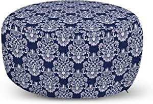 Ambesonne Navy Blue Ottoman Pouf, Abstract Floral Damask with Antique Victorian Design Renaissance Flourish, Decorative Soft Foot Rest with Removable Cover Living Room and Bedroom, Dark Blue White