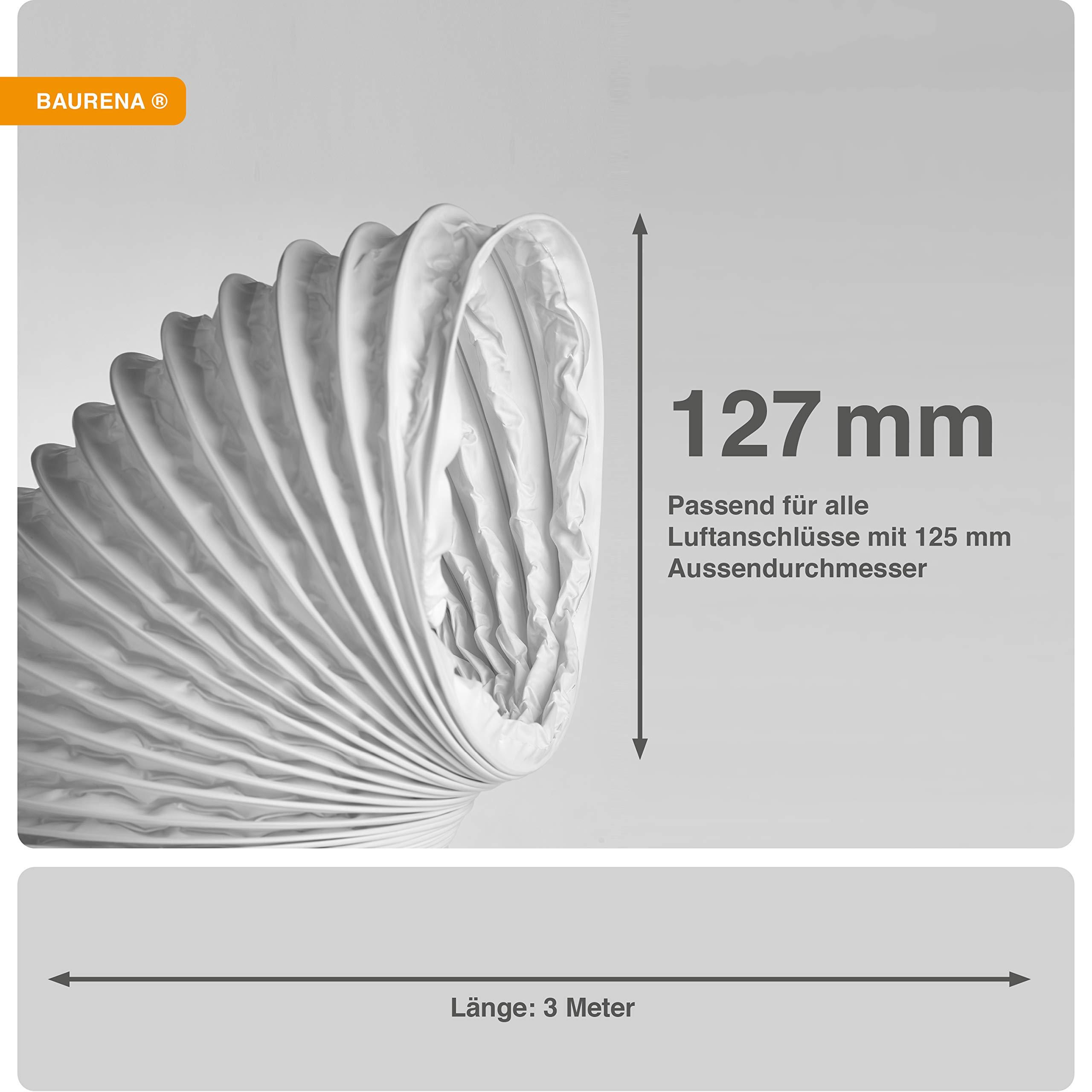 Baurena - Tubo de salida de aire flexible (127 mm x 3 m), color blanco 3 m: Amazon.es: Grandes electrodomésticos