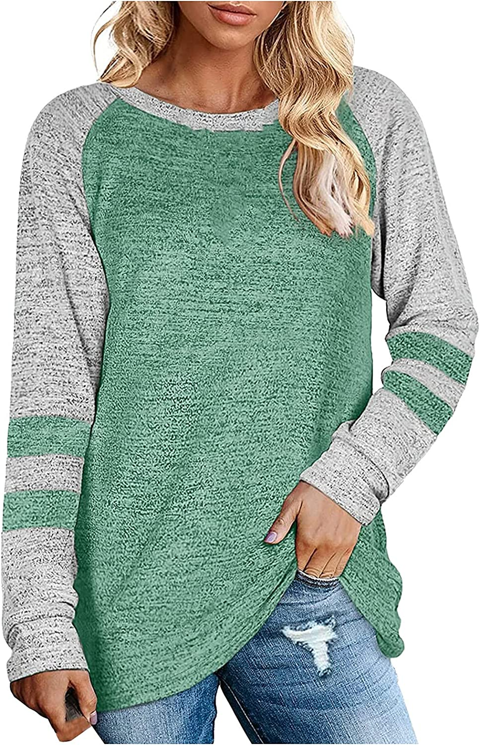 Pullover Blouse Long Beach Mall for Max 54% OFF Women O-Neck Sleeve Pull Long Color Contrast