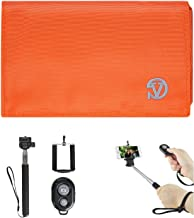 Universal Poly Nylon Hybrid Wallet Case (Orange, Grey) for HTC One X10, U Play, Desire 650, 10 EVO, Bolt with Wireless Selfie Stick