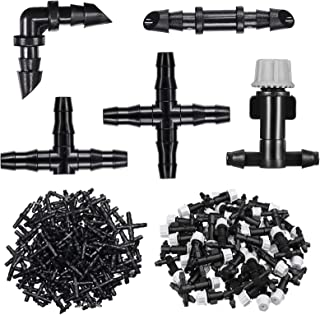 Irrigation Fittings Kit Drip Irrigation Barbed Connectors Includes 50 Single Barbed Connectors 20 Tees 20 Elbows 10 4-Way Coupling and 50 Misting Drippers Sprinkler for 1/4 Inch Tubing 150 Piece