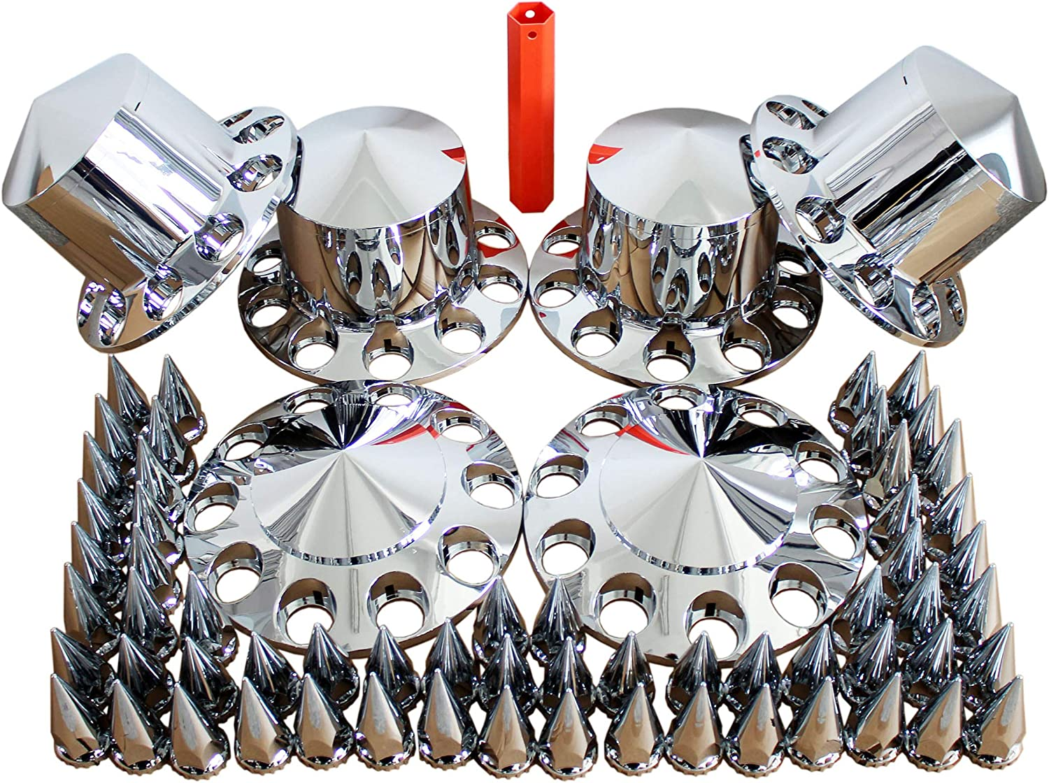 MRJLK Chrome ABS Complete Axle Sales Cover Hub Caps Set 33mm and with Courier shipping free