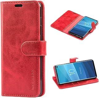 Mulbess Cover per Samsung Galaxy S10, Custodia Pelle con Magnetica per Samsung Galaxy S10 [Vinatge Case], Vino Rosso