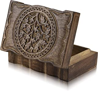 Great Birthday Gift Ideas Handmade Decorative Tree of Life Wooden Jewelry Box Treasure Box Jewelry Organizer Keepsake Box Treasure Chest Trinket Holder Lock Box Watch Box 9 x 6 Inch Gifts for her