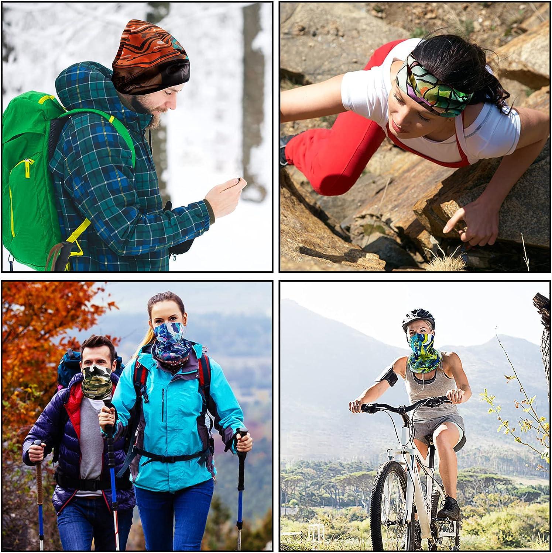 Ponpon 10Pcs Neck Gaiter Unisex Face Mask Scarf Mask for Men Black Gator Face Bandana for Cycling Hiking Motorcycle