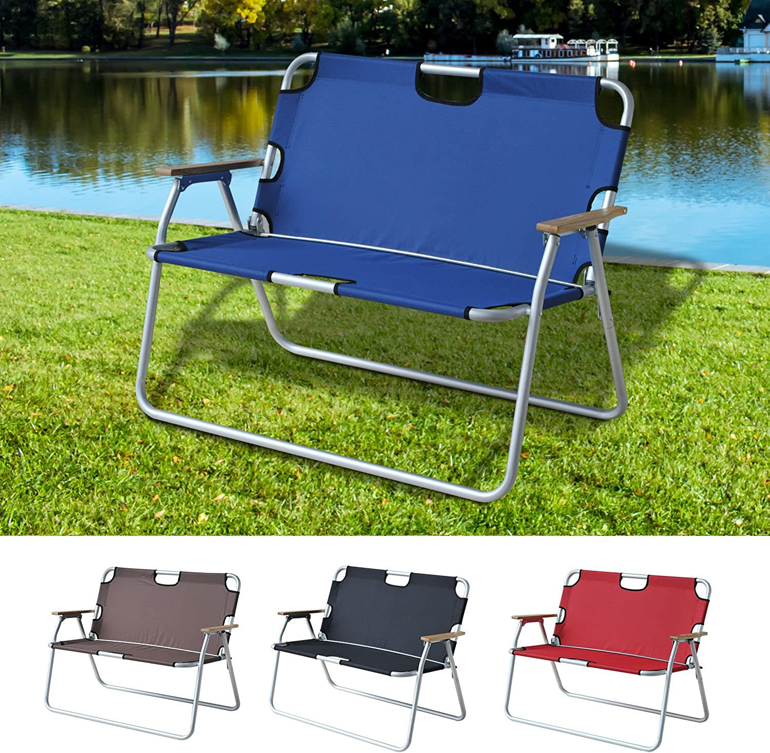 Generic O8O4168O luminum Picnic Camping g Bench Seat Foldable cnic Ca Outdoor Lawn Chair Foldab Bench Aluminum Armrest color Random 2 Pers 2 Person NV_1008004168TYQFUS32