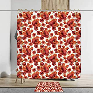 YOLIYANA Floral Innocuous Shower Curtain Set with Rug,Red Poppy Flowers Watercolor Paintbrush Style Effect Nature Idyllic Artsy Print,36''Wx72''H Shower Curtain+18''Wx30''L Rug