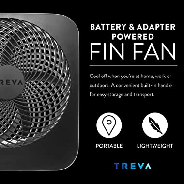 O2COOL Fin Treva 10-Inch Portable Desktop Air Circulation Battery Fan-2 Cooling Speeds-with AC Adapter, 2 Units, Pack
