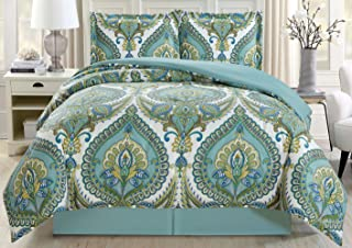 3-Piece Fine Printed Oversize Comforter Set Reversible Goose Down Alternative Bedding Twin Size (Turquoise Blue, Grey, White, Sage Green)