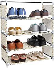 WowObjects 4 Layers Steel and Fabric Multi-Purpose Shoe Rack For Home