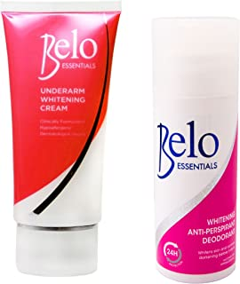 Belo Essentials Underarm Whitening Set - Whitening Roll-on Deodorant and Whitening Underarm Cream - Whitens Stubborn Underarms FAST!!!