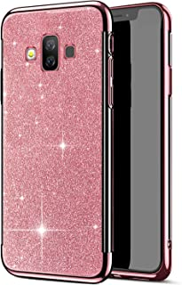 Herbests Compatible with Samsung Galaxy J7 Duo Case Women Girl Glitter Bling Crystal Sparkle Shiny Soft Transparent Plating TPU Silicone Rubber Shockproof Protective Case Cover,Rose Gold