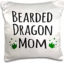 3dRose Bearded Dragon Mom-for Female Lizard and Reptile Enthusiasts and Girl pet Owners Green Footprints-Pillow Case, 16-inch (pc_154045_1)