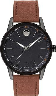 Movado - Museum 0607224 - Reloj para hombre, esfera negra, piel de coñac
