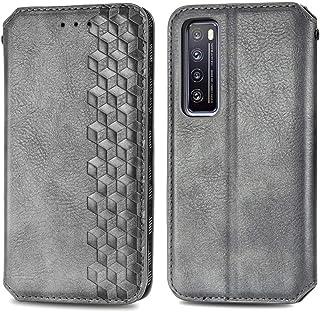 電話ケースカバー Huawei Nova 7立方グリッドプレス水平フリップ磁気PUレザーケースホルダー&カードスロット&財布用 バッグスリーブ (Color : Grey)