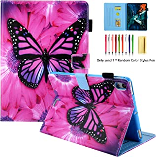 LittleMax Case for iPad Pro 11 Inch,Cute Painting PU Leather Stand Folio Case Auto Wake/Sleep Cover for iPad Pro 11 Inch 2018 - Big Rose Butterfly