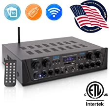 500W Karaoke Wireless Bluetooth Amplifier - 4 Channel Stereo Audio Home Theater Speaker Sound Power Receiver w/ AUX IN, FM, RCA Subwoofer Speakers OUT, USB, Microphone IN w/ Echo - Pyle PTA44BT